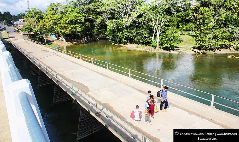 Puente Mopan across Mopan River on Belize-Guatemala western border.