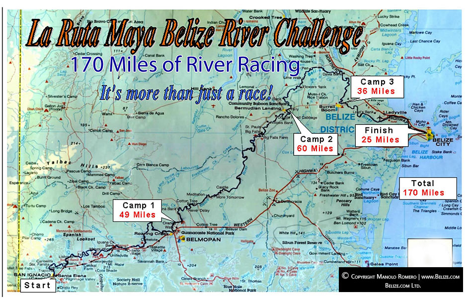 Ruta Maya Belize Canoe Race Map